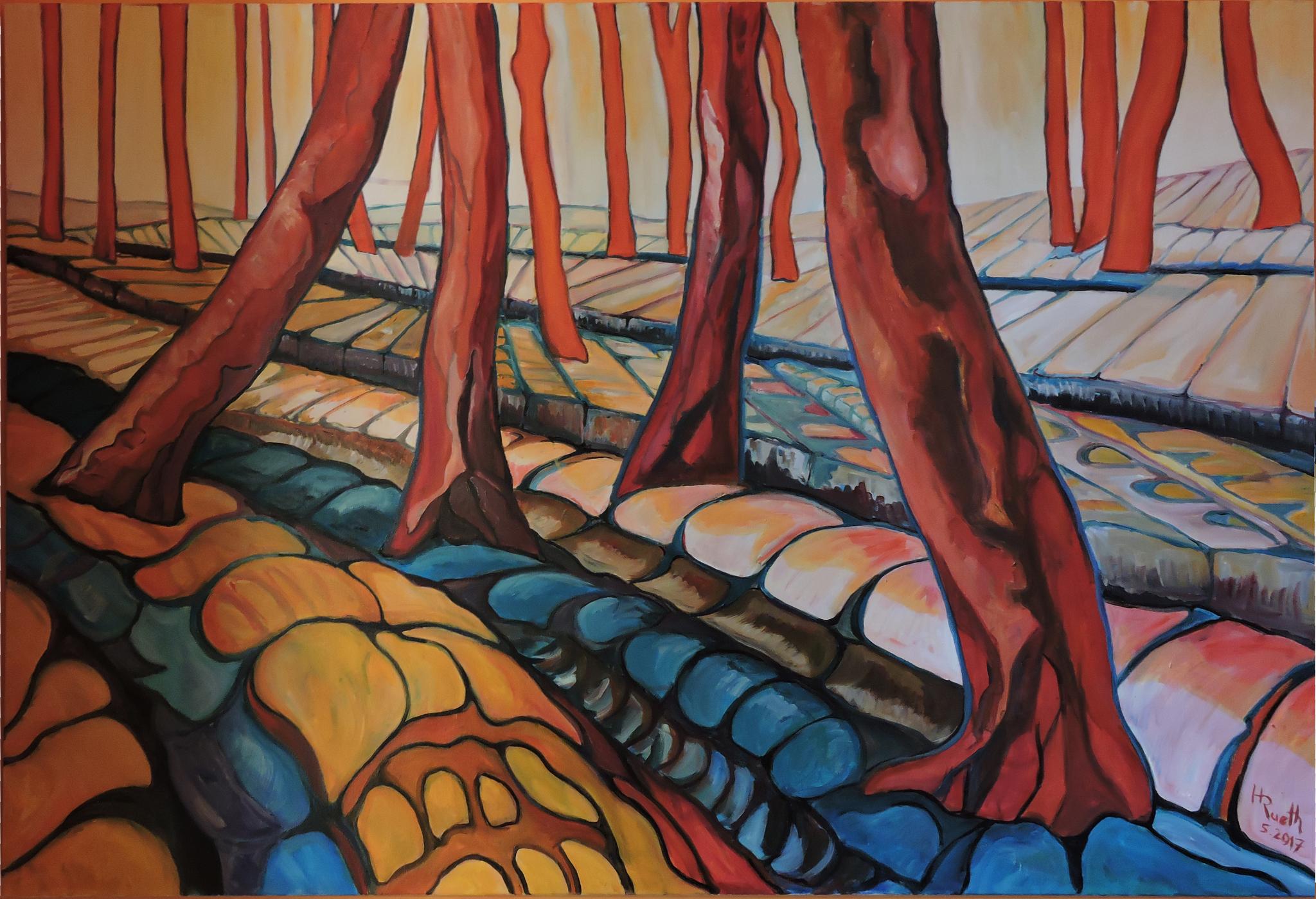 """""""Bäume  4"""", Öl auf Leinwand, 150 x 100 cm, 2017"""