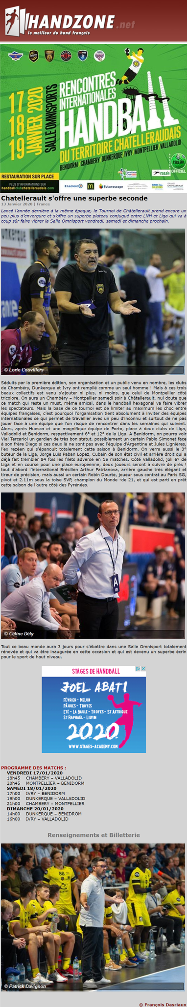 Handzone, article du 13 janvier 2020