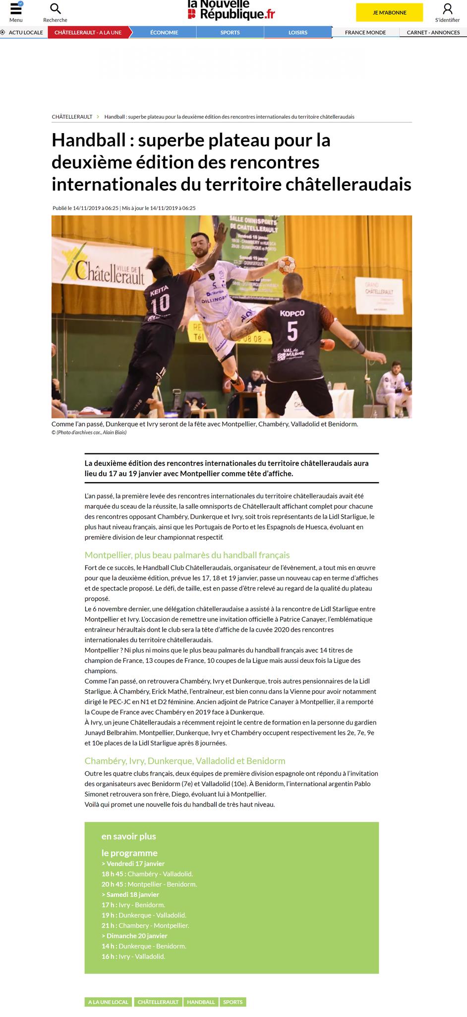 La Nouvelle République, article du 14 novembre 2019