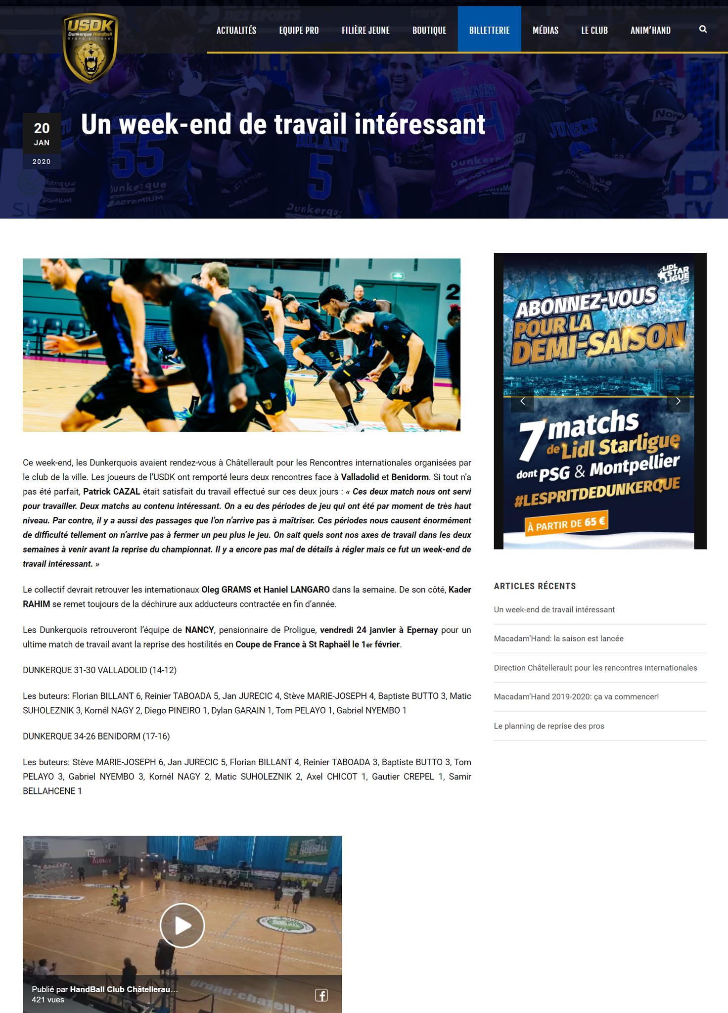 """Site officiel de l'USDK, """"Un week-end de travail intéressant"""", article du 20 janvier 2020"""