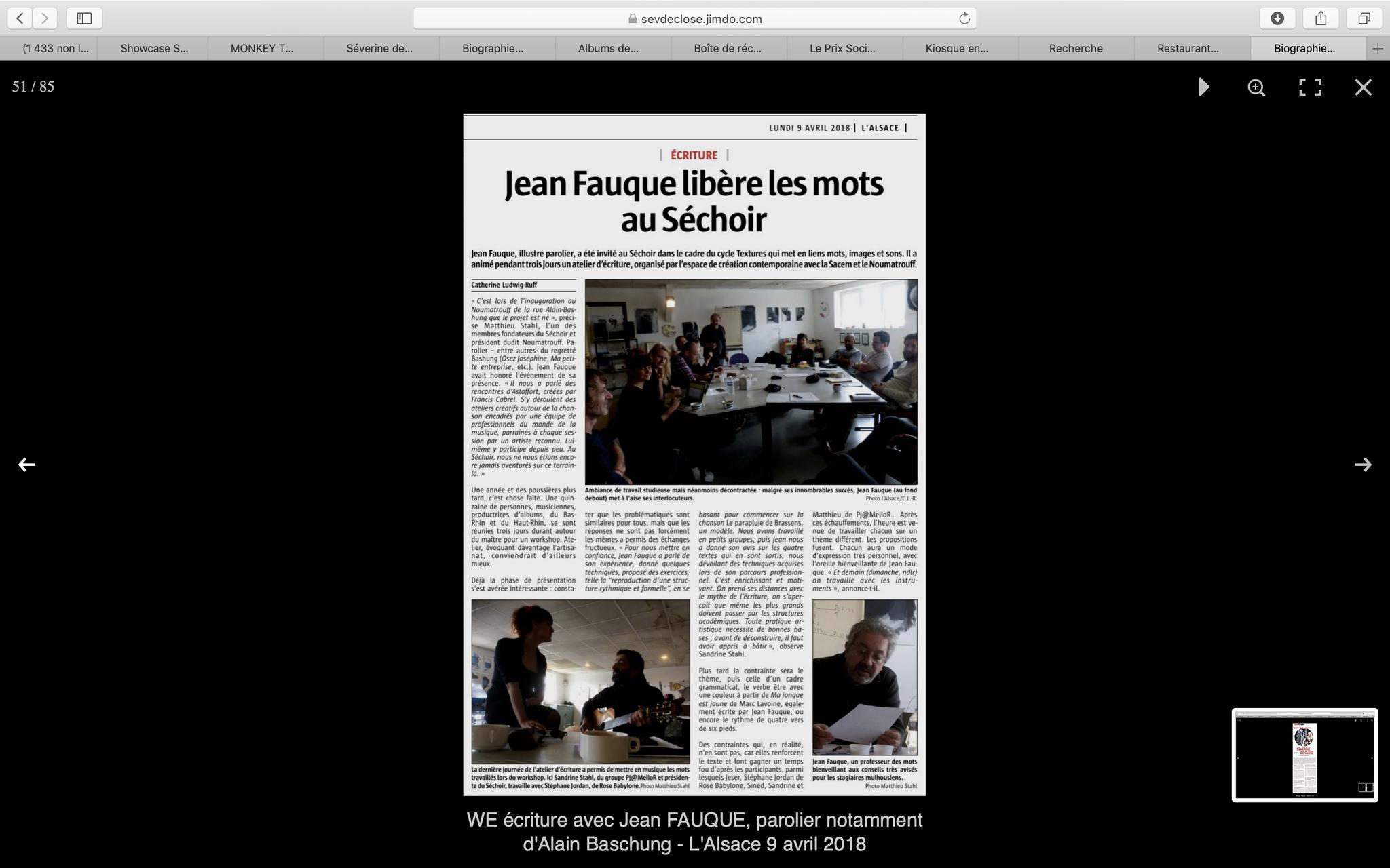 WE écriture avec Jean FAUQUE, parolier notamment d'Alain Baschung - L'Alsace