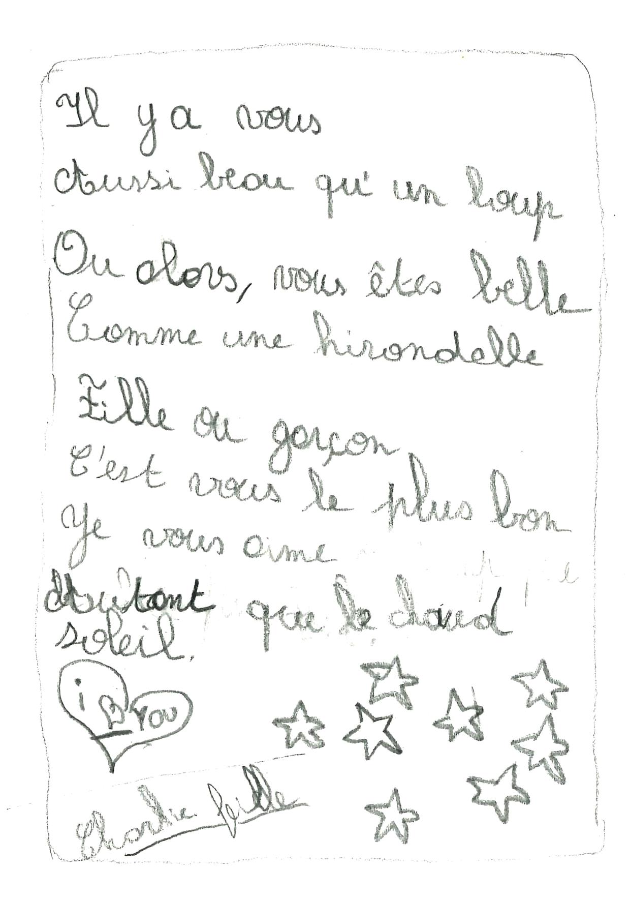 Une poésie de Charlie