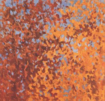 Baumkronen im Herbst (Öl auf Leinwand - 72x69)