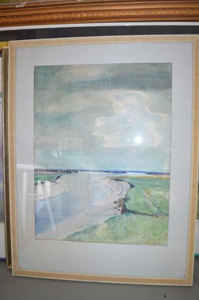 Aquarell von Richard Curdes von 1966. Gerahmt im Holzrahmen und hinter Glas mit Passepartout. Preis: 70,00 €