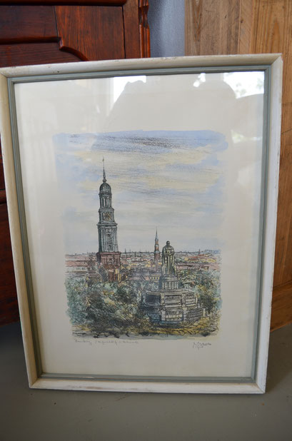 signierter Druck, Hamburg Michaeliskirche. Im Holzrahmen hinter Glas. Maße: 48 cm x 37 cm. Preis: 25,00 €