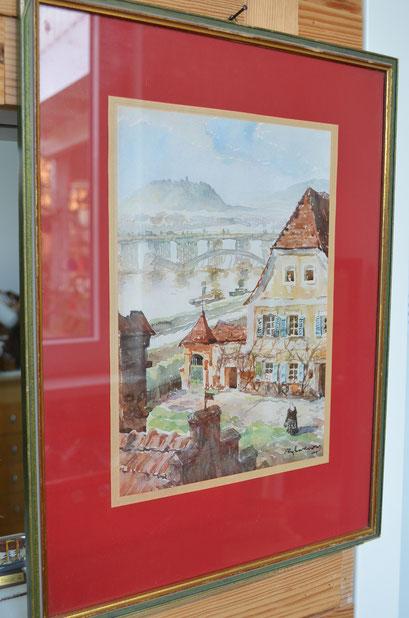 Bild mit Druck von Deggendorf. Donau und Mettenberg. Preis: 10,00 €