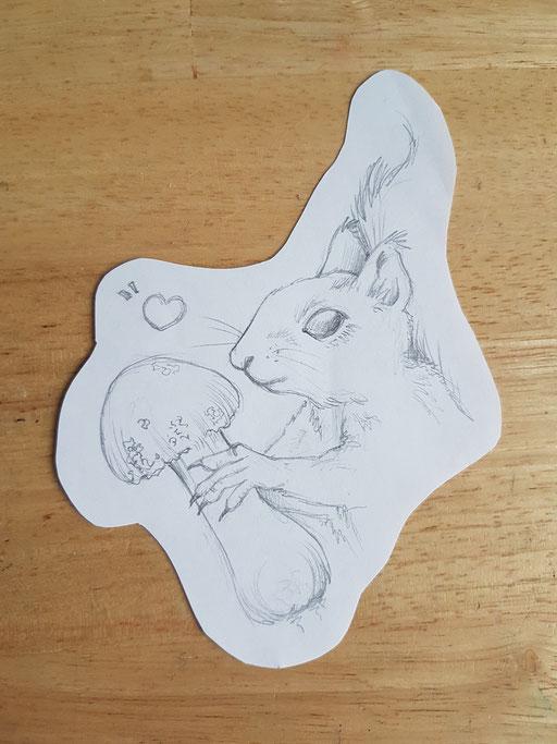 Ecureil avec son champignon - Tatoueuse Marquise