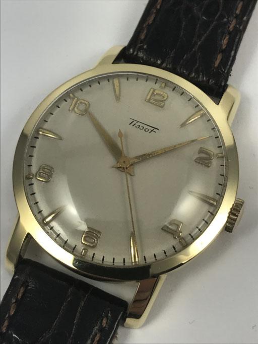 VINTAGE TISSOT AUS 1953 MIT PAPIEREN IN 585 GOLD CAL. 27-2T - DRESSWATCH
