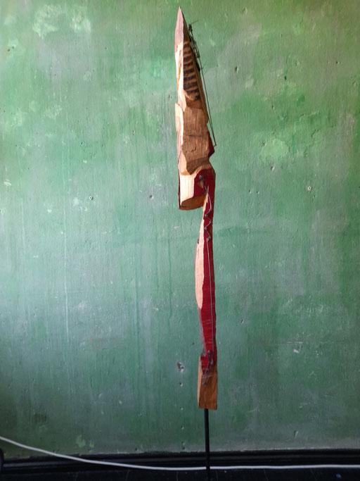 """""""Marabu"""" Ansicht """"Seite 1"""" (95/21 Holz, Stahl, Öl, Lippenstift  H: 130cm, mit Stahlfuss 180cm)"""