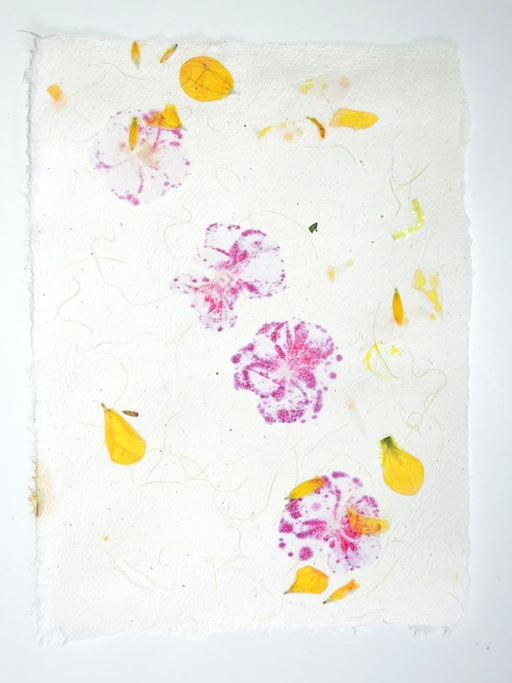Handgeschöftes Papier mit Dahlien und Pelargonienblüten, Michaela Metzler, Mattsee, Östterreich