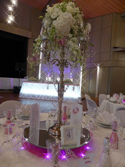 Kerzenständer Blumengesteck LED-Beleuchtung pink