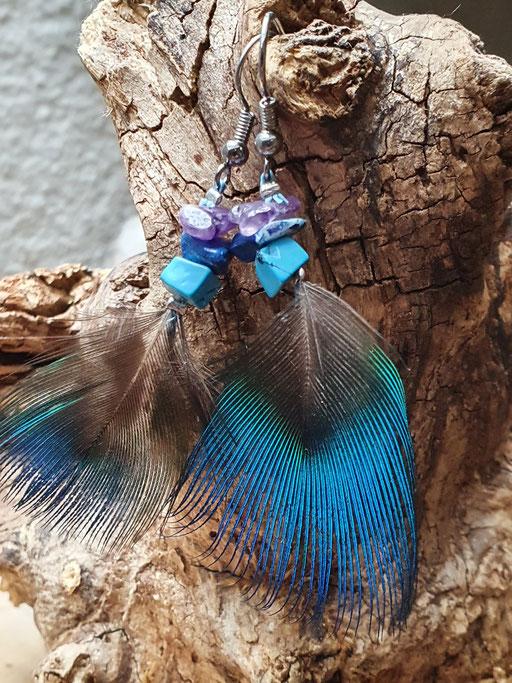 Boucles d'oreilles plume de paon bleu