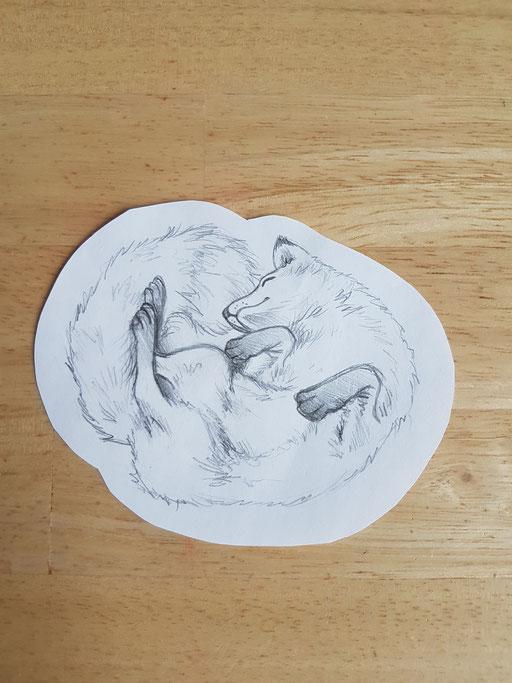 Loup qui dort - Tatoueuse Marquise