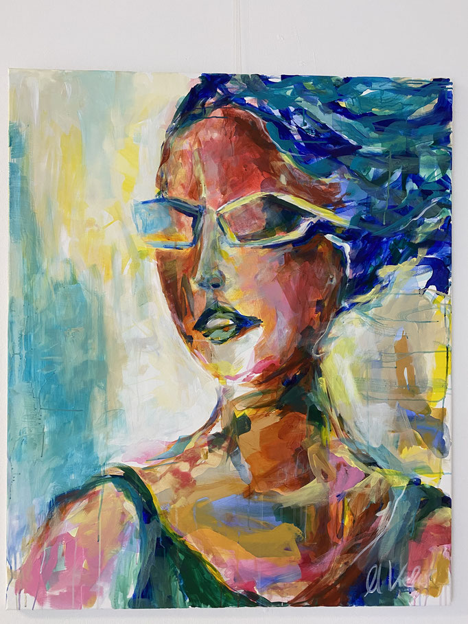 """Woman with sunglasses"" 100x120cm Acryl auf Leinwand"