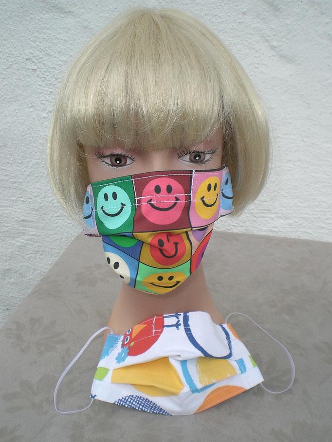 Nase-Mund-Gesichts-Schutzmasken (mit oder ohne Nasenklammer), 100% Baumwollstoff, doppellagig, waschbar, Haltegummi verstellbar
