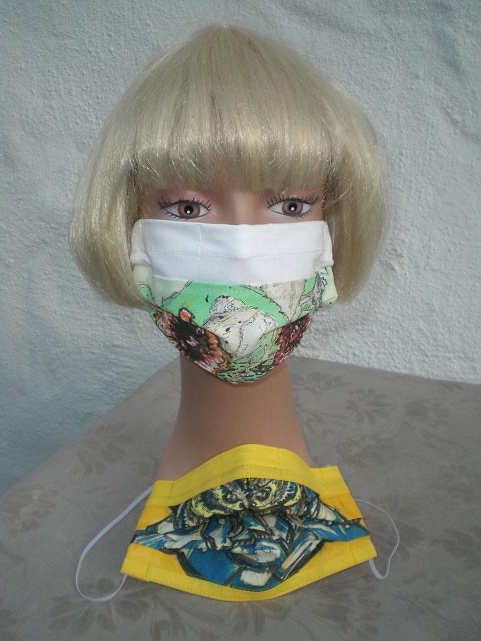 Nase-Mund-Gesichts-Schutzmasken (mit Nasenklammern ) ART-DEKO handbemalt, 100% Baumwollstoff, doppellagig, waschbar,  Haltegummi verstellbar