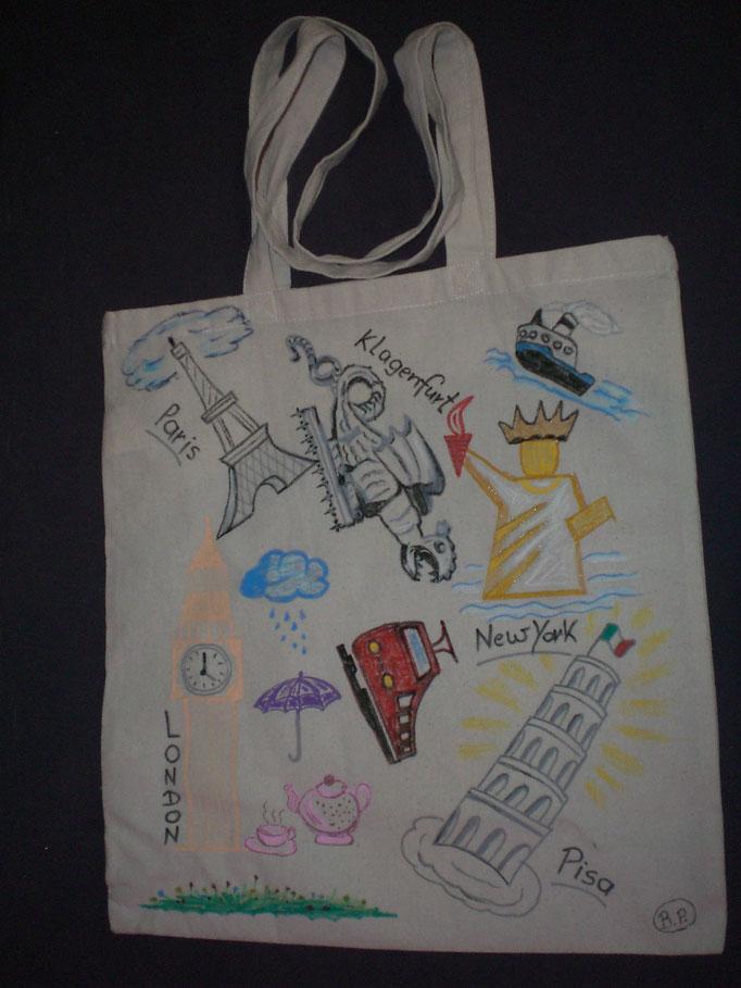 Stoff-Tasche REISE, Baumwolle, handbemalt, waschbar, Rückseite mit Spruch oder individ. Grußworten