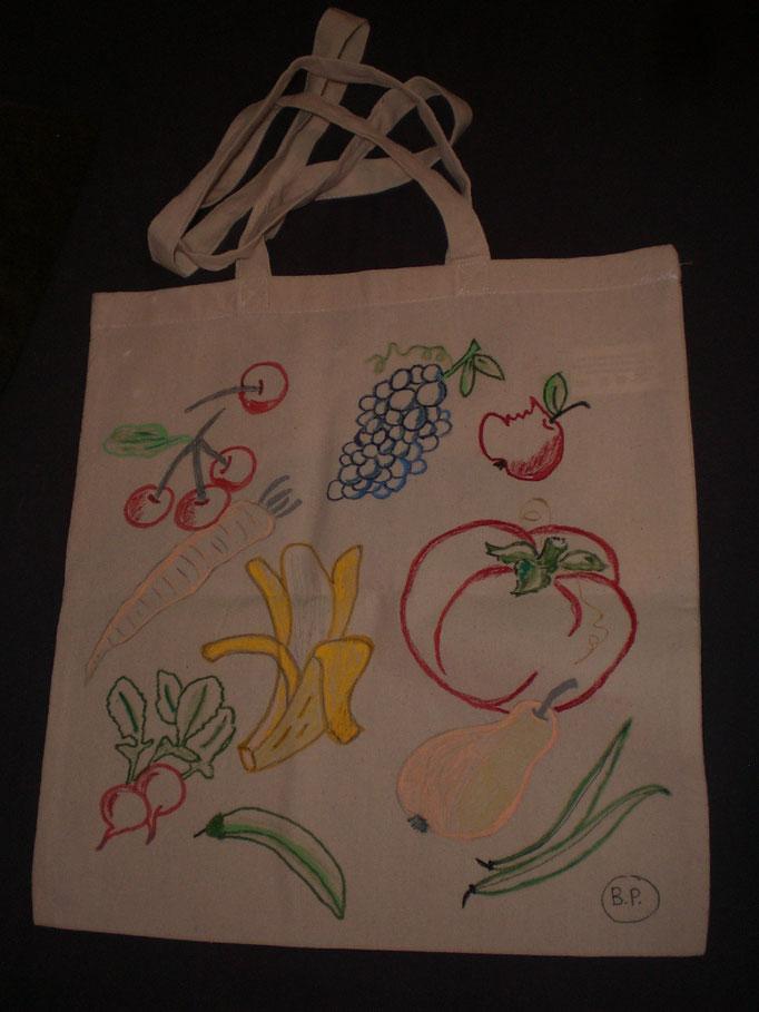 Stoff-Tasche OBST, Baumwolle, handbemalt, waschbar, Rückseite mit Spruch oder individ. Grußworten