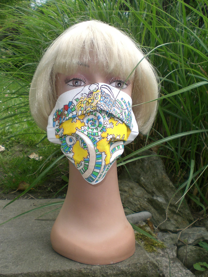 Nase-Mund-Gesichts-Schutzmasken(mit Nasenklammer) ART-DEKO handbemalt, 100% Baumwollstoff, doppellagig, waschbar , Haltegummi verstellbar