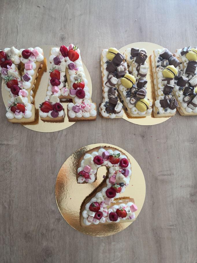 Letter Cake prénom et Number Cake 2 ans Parfums fruits rouges et kinder