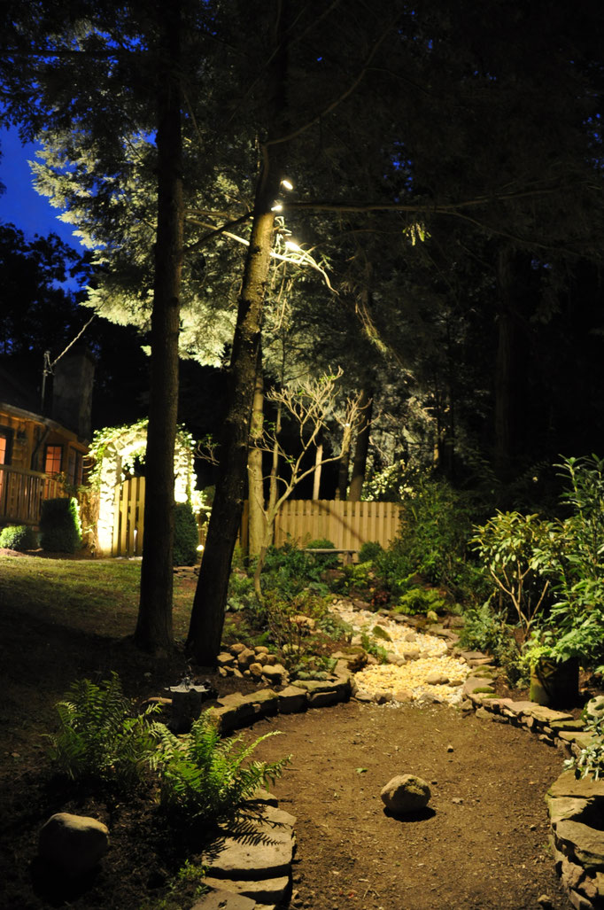 The rain water run-off bed is plucked out of darkeness in the evening with soft tree lighting, which also cast intrciate shadows from the surrounding flora. Newfoundland, NJ