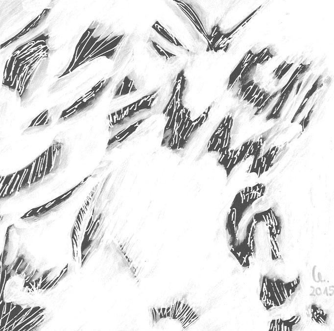 o.T. :: 2015 :: Fineliner und Acryl auf schwarzem Karton :: 16,5 x 16,5 cm