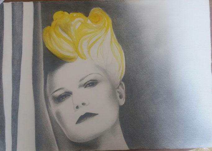 Titolo: Omaggio Maria Antonietta di Sofia Coppola Tecnica: grafite e acquerello su carta Misure: 33x46