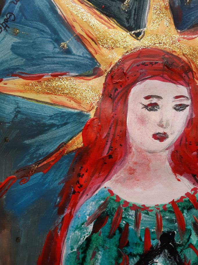 Göttin im Tempel - Detail - 47,5 x 36 cm - 2020 - Mischtechnik - Malerei auf Papier