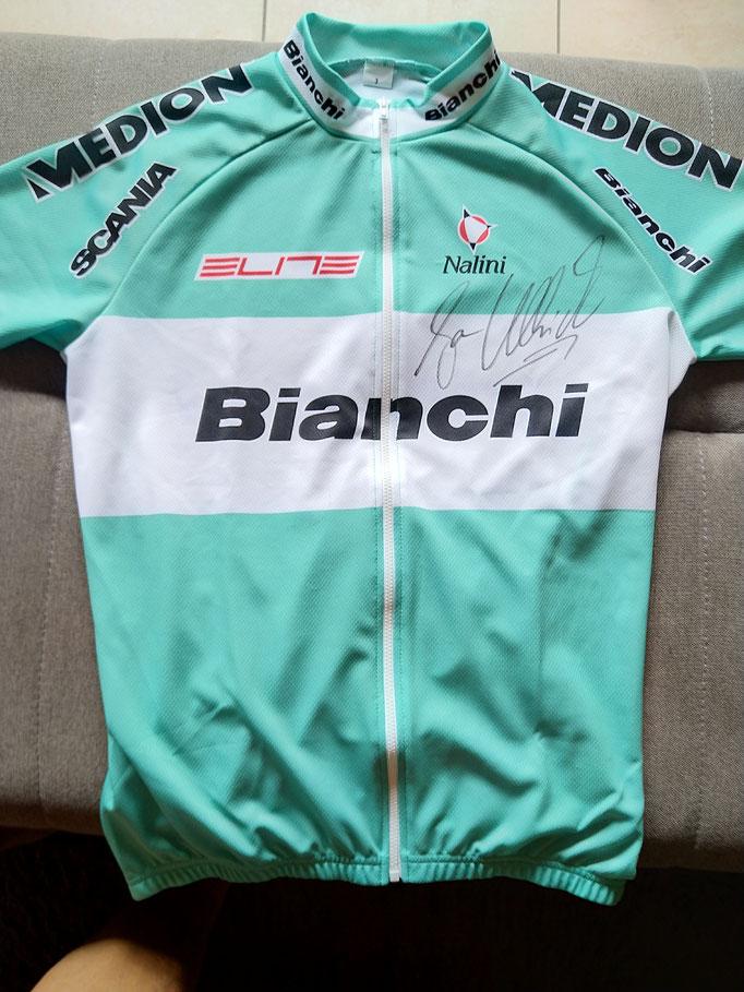 Trikot mit Unterschrift Jan Ullrich vom Team Bianchi