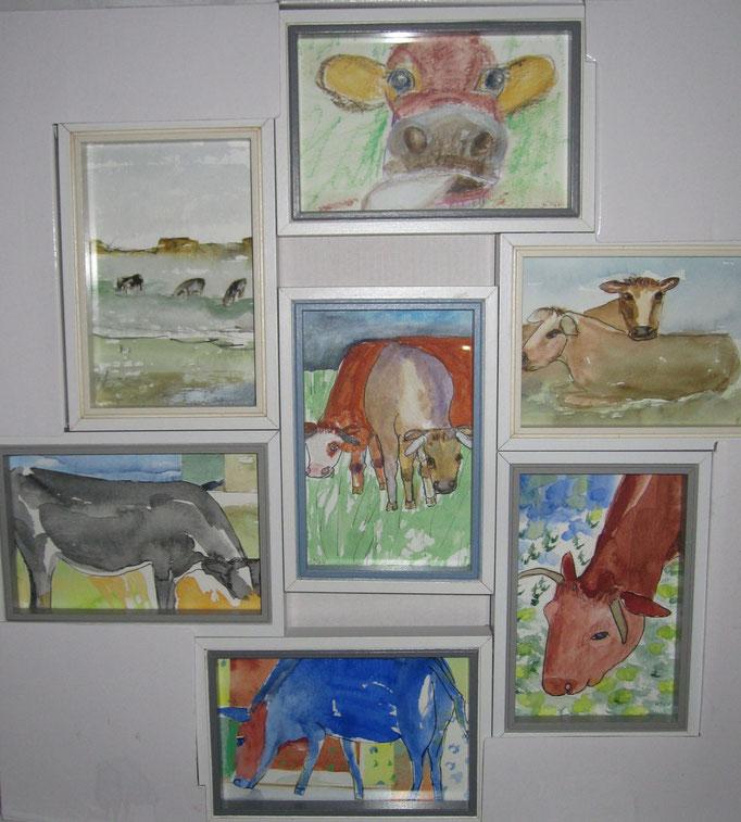 Collage mit Kühen, 2019, Aquarell auf Papier, 60 x 60 cm