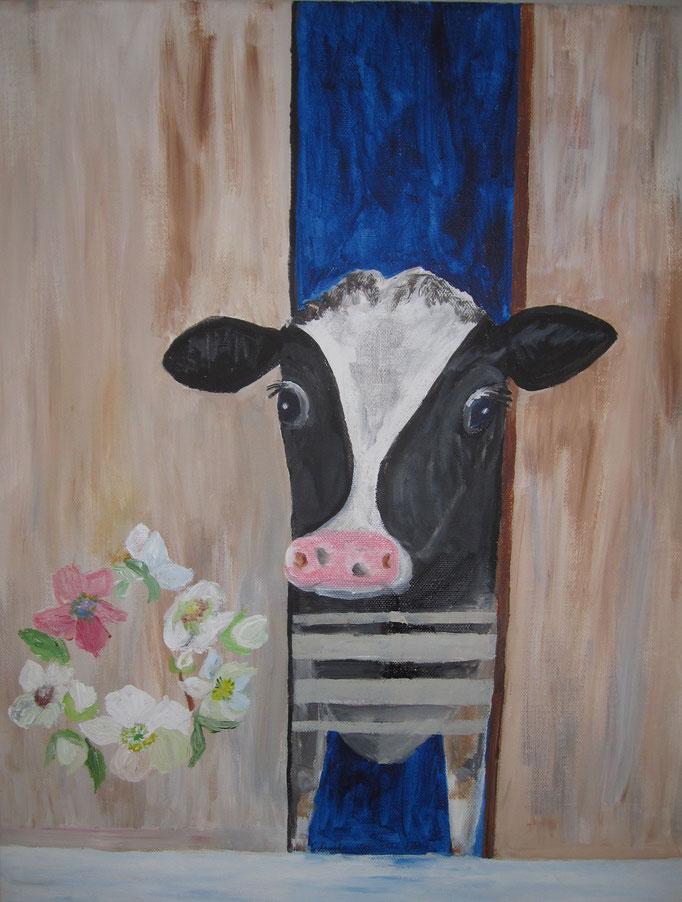 Neugierige Kuh, 2019 Acryl auf Leinwand, 50 x 70 cm