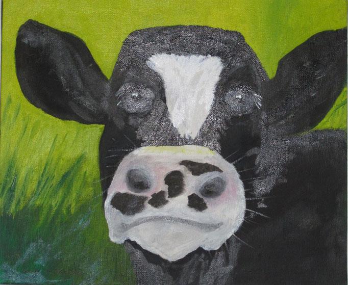 Schwarzbunte Kuh, 2019, Acryl auf Leinwand, 30 x 25 cm