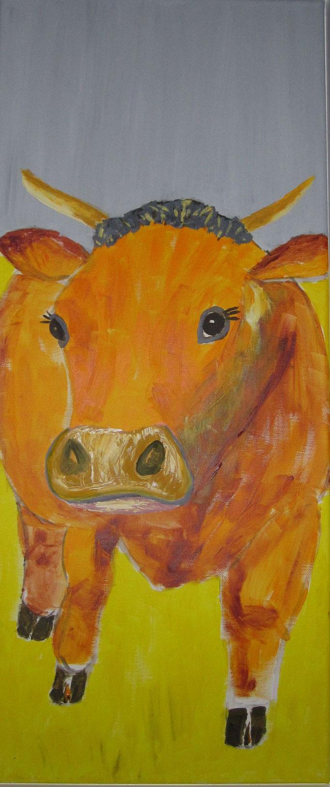Rotbrauner Stier, 2019, Acryl auf Leinwand, 30 x 70 cm