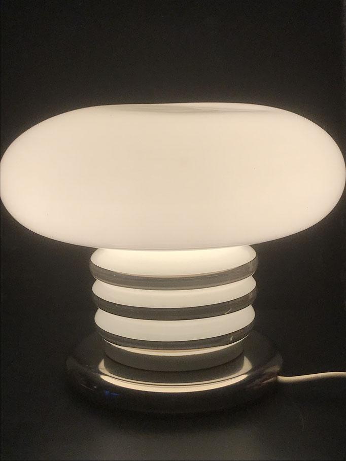 Weiße Mushroom Pilz Vollglas Tischlampe aus den 1960/11970er Jahren
