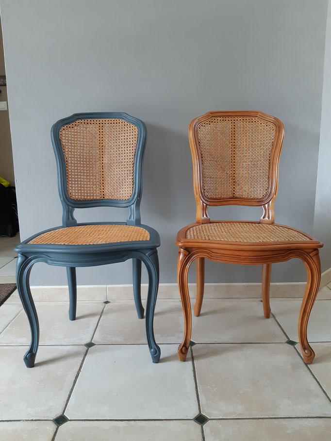 #Avant #Pendant chaises Louis XVI Merisier massif assise et dossier osier