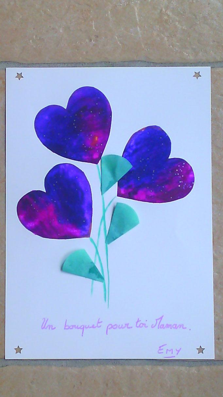 """carte fête des mères :  en peinture """"propre"""" : dans une pochette plastique mettre un dessin, ici des cœurs, avec de grosses gouttes de peinture non étalées et fermer hermétiquement la pochette. Avec son doigt,il peut faire """"avancer"""" les couleurs."""