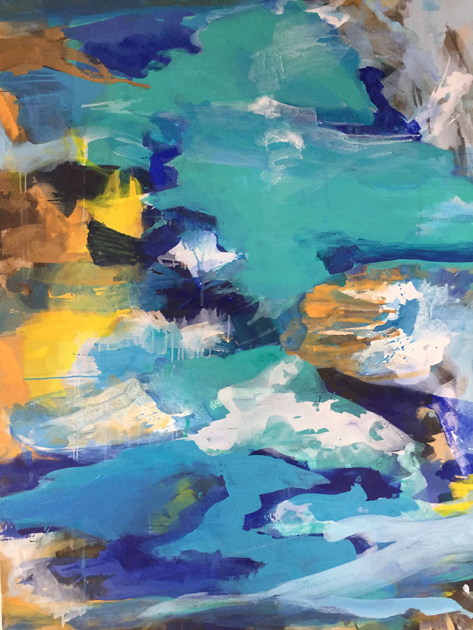 """""""Forms of land,water and air"""" 120x160cm- Acryl u pigmente auf LW"""