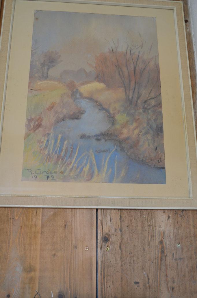 Aquarell von Richard Curdes, 1972, gerahmt, hinter Glas. Preis: 70,00 €