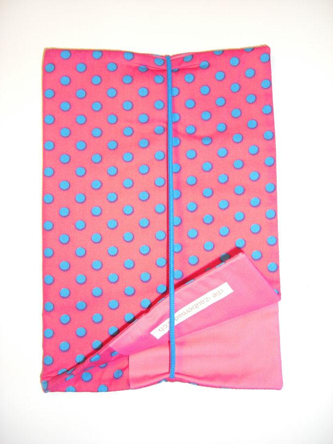 Wickeltasche, pink mit türkisen Punkten