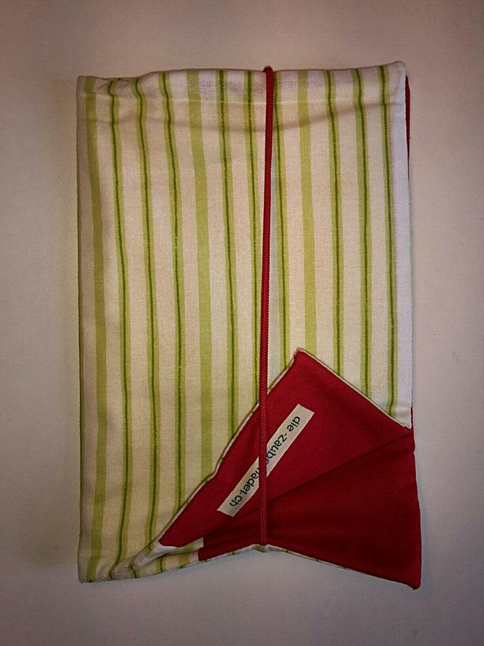 Wickeltasche, grün gestreift/ rot