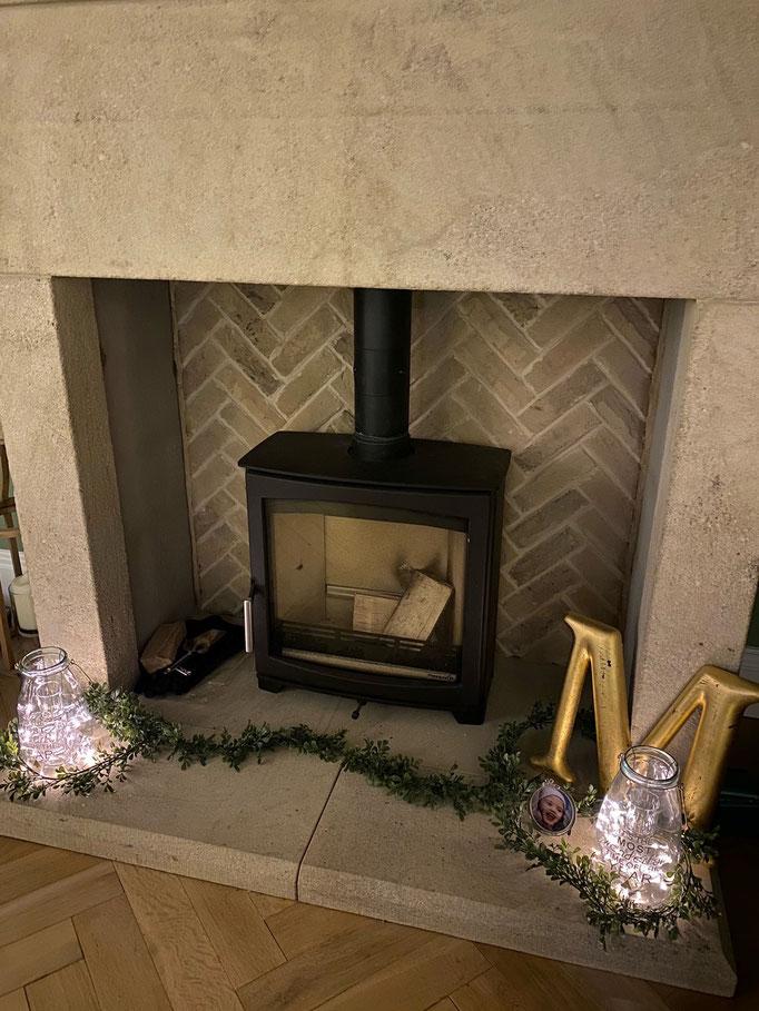 Knightsbridge Buff Multi Fireplace Panel in Herringbone pattern