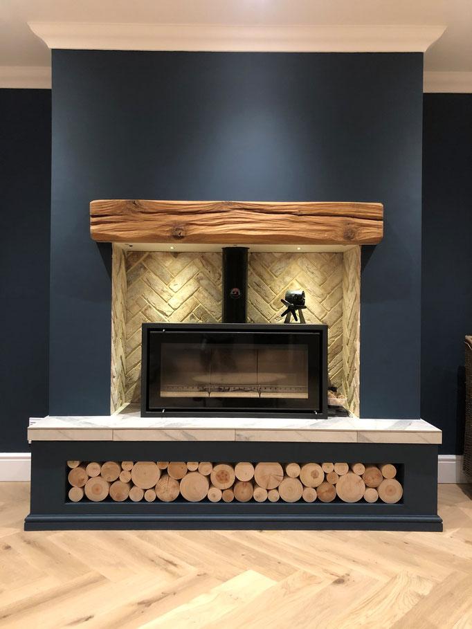 Knightsbridge Buff Multi fireplace chamber in Herringbone pattern