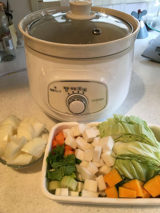 基本4野菜を準備。ハーバード大学医学推奨スープです。