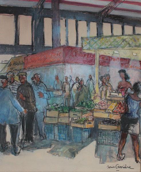 65-les Halles de Narbonne - les Papets, Technique mixte (fusain, pastel, huile), format 60 cm x 73 cm, prix : 680 €