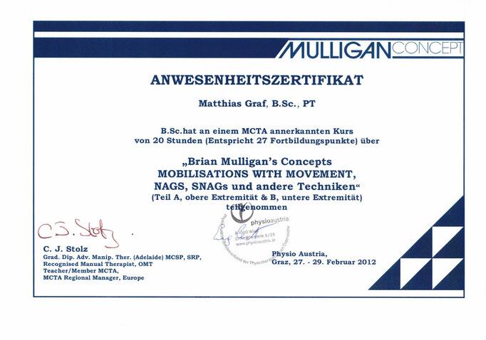 Zertifikat für das Manualtherapiekonzept nach Mulligan
