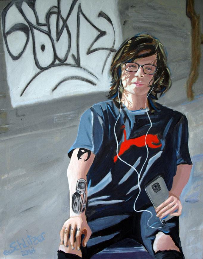 """""""Jugendlicher mit IPhone"""", 100 x 80, Acryl auf Leinen, 2018"""