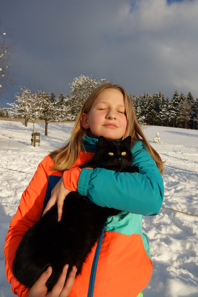 Katze kuscheln im Schnee am Biobauerhonof Stadler
