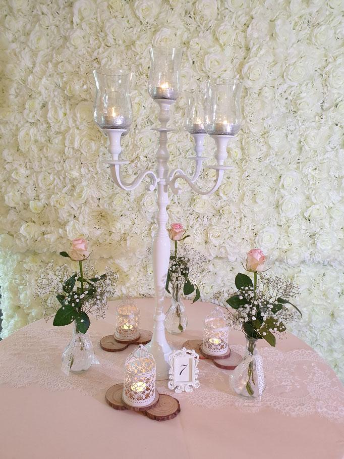 Vintage Dekoration weißer Kerzenständer und Spitze