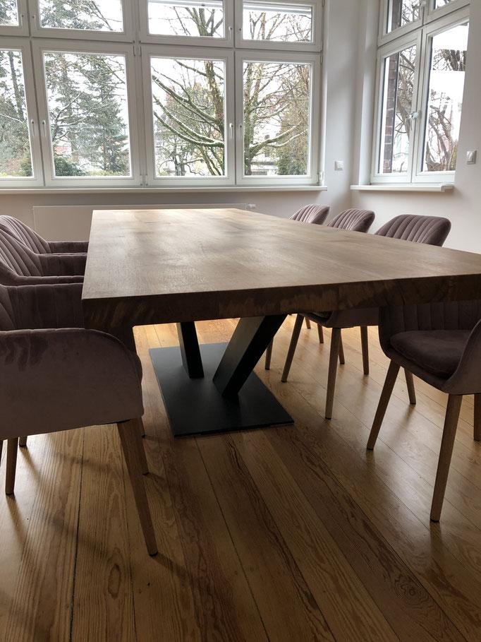 Eiche 6cm stark und Tischgestell Valencia