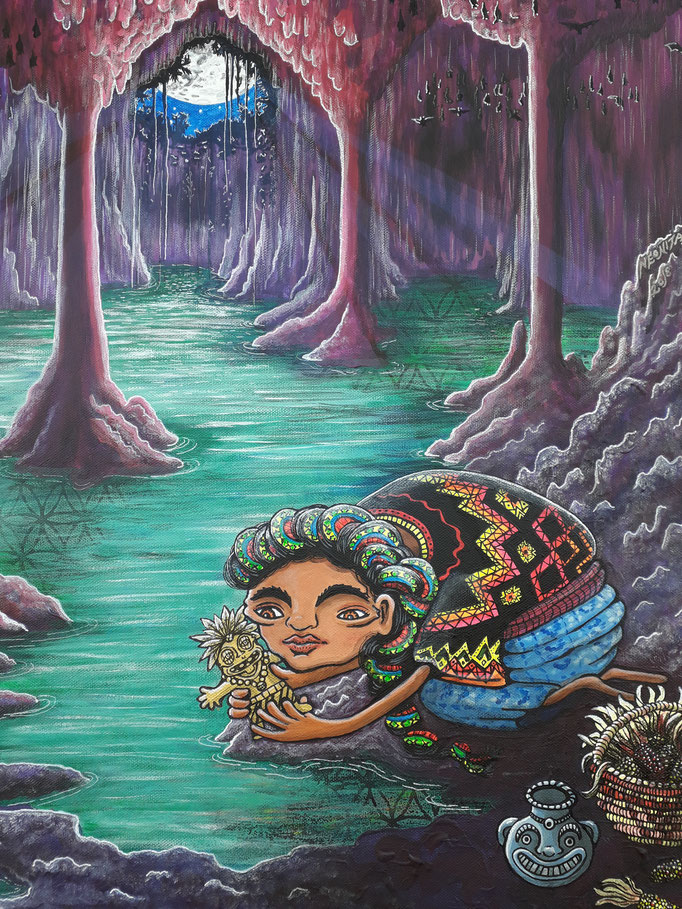 I painted this after a trip to Mexico where I spent time in the Yacatans cenotes, these underground watery holes were sacred to the ancient people, this lady is making an offering to Chaac the rain deity.